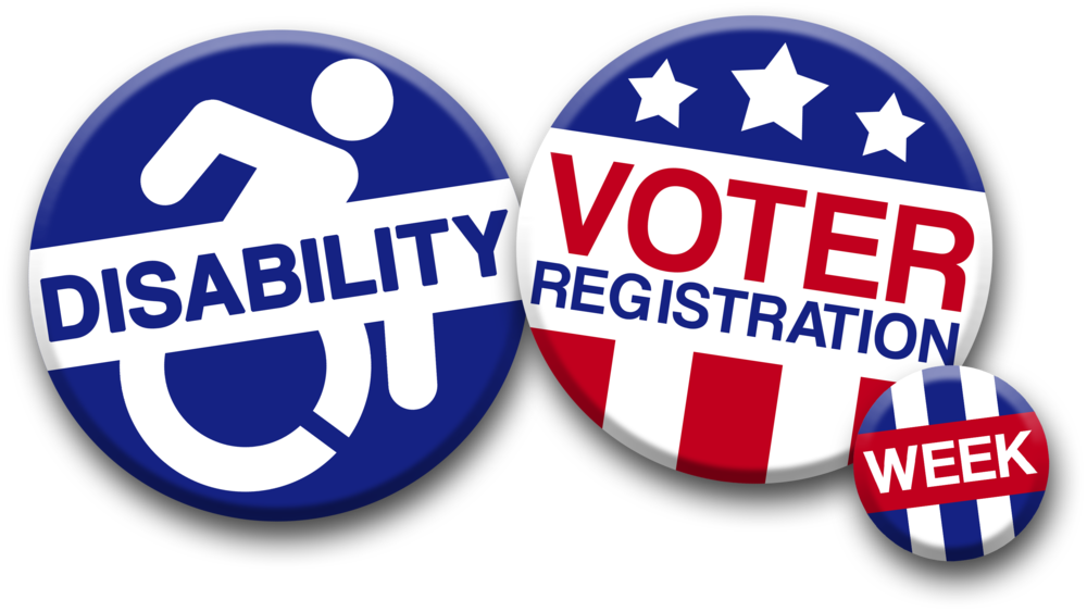 image of two buttons on white background; one with icon of person in wheelchair with word disability and the other with stars and stripes with words voter registration week