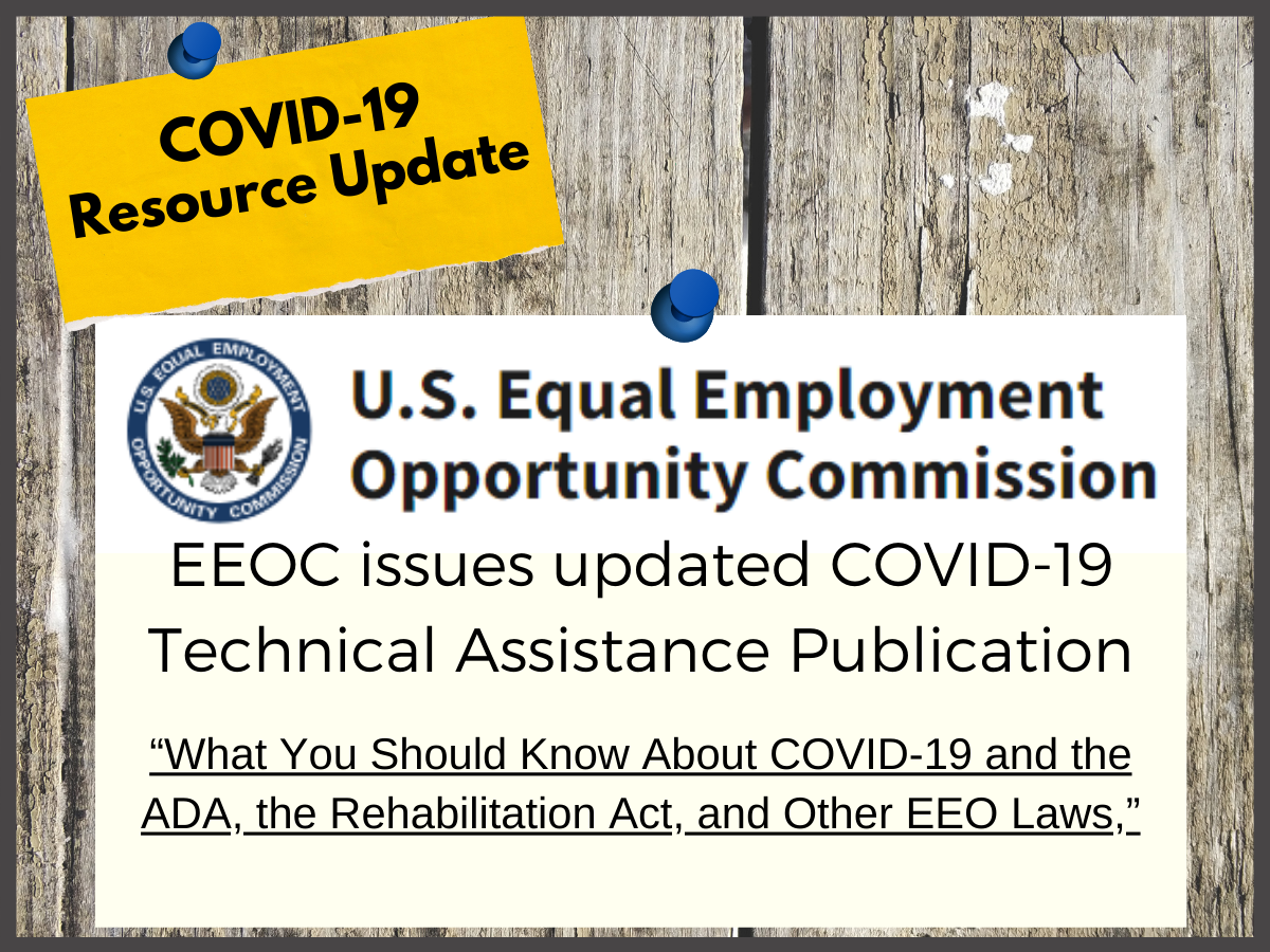 U.S. Equal Employment Opportunity Commission seal with text EEOC issues updated covid-19 technical assistance publication