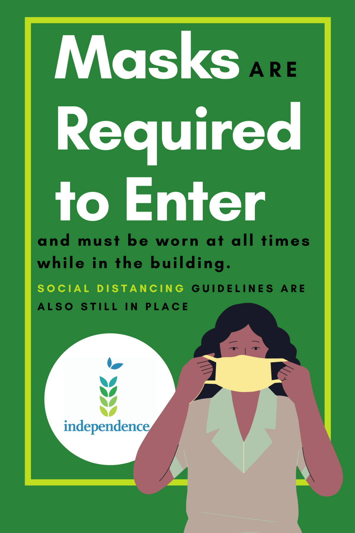 Informational image with dark skinned female putting on a yellow mask with text Masked are Required to Enter